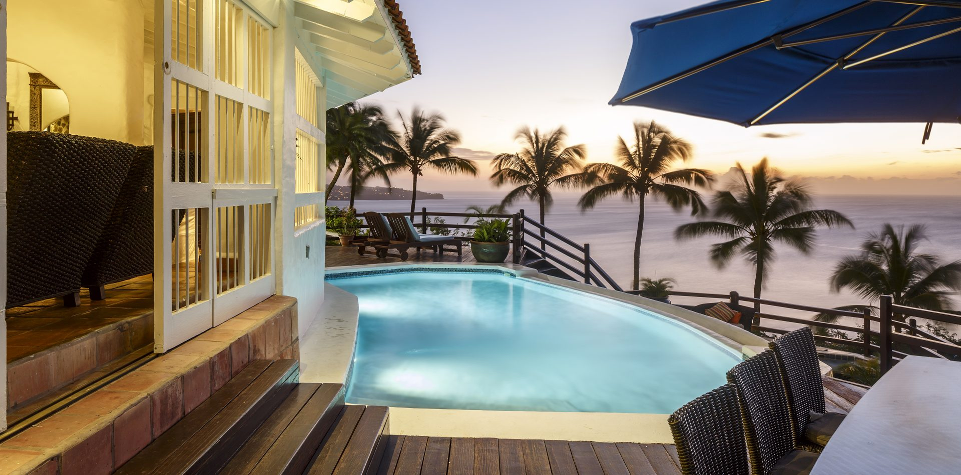 outdoor pool area and balcony at 5 bedroom estate villa in St Lucia