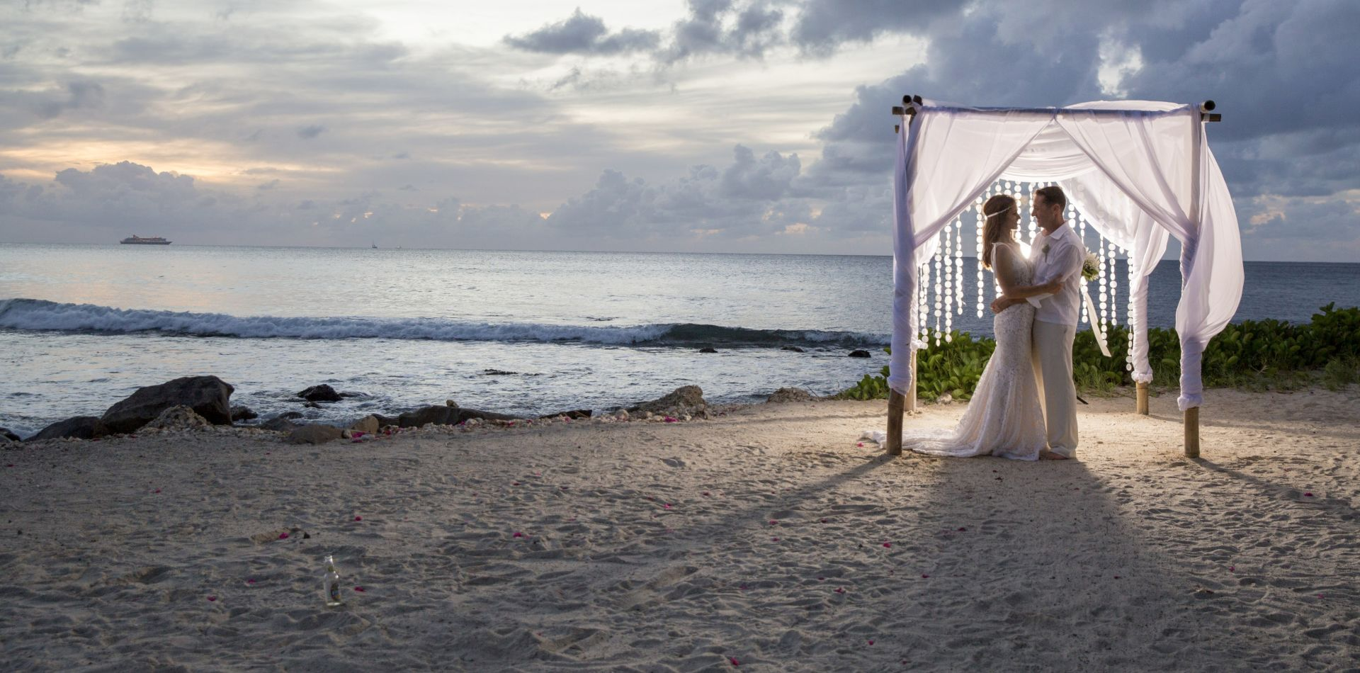 newly weds on the beach in St Lucia